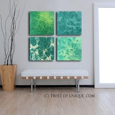 Oversized Green fractal painting/ Abstract wall by TwistOfUnique