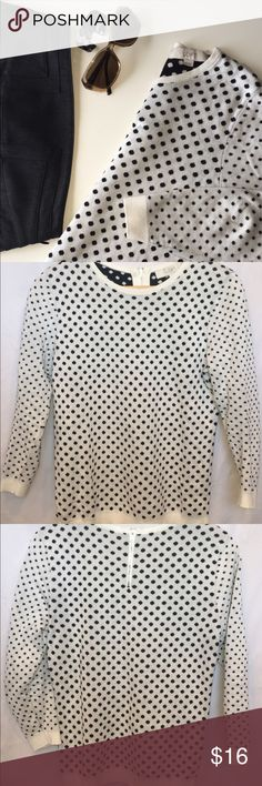 "ANNE TAYLOR LOFT | polka dot sweater | small Cute white sweater with small black polka dots. Long sleeves. Zipper back. {armpit-armpit 17.5"" / armpit-bottom 14.5"" / armpit-cuff 12.5"" / frontneckscoop-bottom 20""} {100% cotton / machine wash} [EUC] Ann Taylor Sweaters Crew & Scoop Necks"