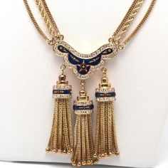 Vintage Diamond Enamel 18K Gold Tassel Necklace