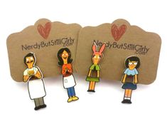 Bobs Burger Inspired Cling Earrings – Nerdy But Still Girly Bobs Burgers Gifts, Bobs Burgers Memes, Louis Belcher, Bob S, American Dad, Geek Jewelry, One And Other, Spirit Animal, Nerdy