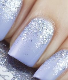 Glitter Nail Art Ideas – Step by Step Tutorials for Glitter Nail Designs Lavender nail polish with glitter gradient nails Fancy Nails, Love Nails, How To Do Nails, Pretty Nails, My Nails, Sparkly Nails, Gorgeous Nails, Chic Nails, Lavender Nail Polish