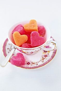 Sweet Love:  Add a sweet twist with shaped cubes.    Mix 1-2 tbsp water and a drop of food colouring with 250g caster sugar so it takes on the texture of damp sand. Tip it onto a baking sheet lined with non-stick parchment and press firmly to a thickness of 1cm. Using a cookie cutter, stamp out heart shapes and press out gently. Place on a separate lined baking sheet to dry overnight. Use within one month.