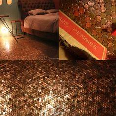 Bedroom floor made from 38,903 heads up pennies.