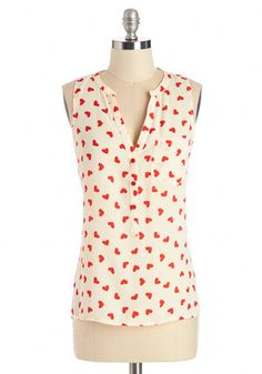 Heart from the Start Top. You have no trouble expressing your character, but a personality-filled top sure doesnt hurt the cause! #cream #modcloth