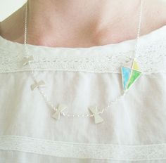 Enamel and fine silver summer kite necklace