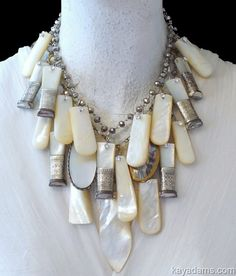 L6766 [L6766] - $805.00 : Kay Adams, Anthill Antiques, Jewelry and Chandelier Heaven. Statement Necklace. Statement Jewelry. Amazing. Antique Mother of Pearl and Sterling.  Butter Knives, Letter Openers, Old Spoons. Unbelievable Luster. Beautiful Layered Art Necklace. #gottagettakay