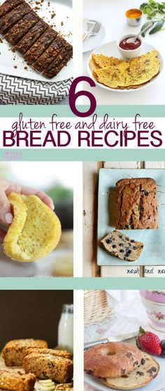 Looking for an allergy friendly bread recipe that actually tastes good? Here's a delicious round up of 6 healthy gluten free and dairy free breads, bagels, and pancakes! #glutenfree