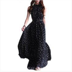 FS Hot Women's Polka Dots Maxi Long Casual Summer style Beach Party Chiffon Dress Big Size Women Sundress