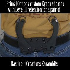 Custom Kydex sheaths for a pair of Bastinelli Karambits. Kydex finger release for added security. Small-of-back setup. Sheaths can be worn separately.