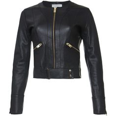 IRO Crop Leather Jacket (3,735 PEN) ❤ liked on Polyvore featuring outerwear, jackets, coats, black, real leather jacket, cropped jacket, lightweight jackets, leather jacket and light weight jacket