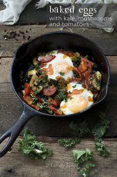 Baked Eggs with Kale, Mushrooms and Tomatoes- Can be made for breakfast