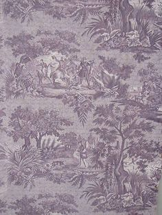 Antique early 19th century French quilt ~ beautiful purple toile ~ rustic, primitive textile ~