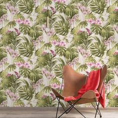 A dramatic tropical wallpaper design in green/pink from the Myriad Wallpaper Collection by Grandeco. Available at Go Wallpaper UK Orchid Wallpaper, Tropical Wallpaper, Botanical Wallpaper, Wallpaper Size, Trendy Wallpaper, Wallpaper Samples, Wallpaper Roll, Perfect Wallpaper, Easy To Remove Wallpaper