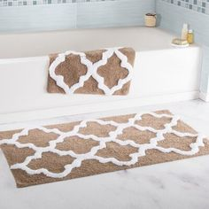 Lavish Home 2 Piece Trellis Cotton Bath Mat Set Color: Taupe Bathroom Mat Sets, Bath Mat Sets, Bathroom Rugs, Bath Rugs, Master Bathroom, Bathroom Ideas, Bathrooms, Small Mats, Trellis Pattern