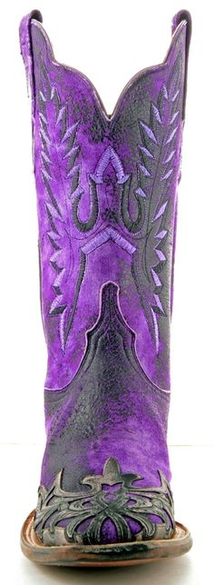 PURPLE COWBOY BOOTS--love this for lupus awareness--how cool! The top of the boots looks kinda like butterfly wings!