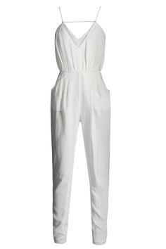 THE SOMEDAY Ivory Jumpsuit - White jumpsuit by Finders Keepers in lightweight material, with V-neckline, spaghetti straps, elasticated waist and cutaway pockets to the hips. Available even in navy! *All measurements are in cm - Measurements of wasit, bust and hips refer to the circumference.    SIZE & FIT  Length (from shoulder) ...