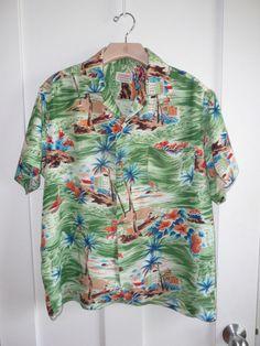 ALOHA SHIRTS Vintage Rayon Made in Japan Hawaiian Waikiki Mens L Luau Attire