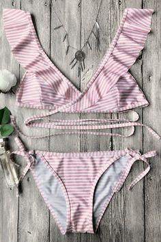 Floralkini Striped Ruffle Plunge Criss Cross Bikini Set
