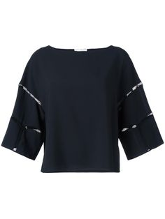 ¡Cómpralo ya!. Chloé - Cut Out Seam Top - Women - Cotton/Polyester/Acetate/Viscose - 40. The Chloé collection combines Brit-girl cool with Parisian glamour. This black cotton blend cut out seam top from Chloé featuring a boat neck, a boxy fit, three-quarter length sleeves and a straight hem. Size: 40. Gender: Female. Material: Cotton/Polyester/Acetate/Viscose. , tophombrosdescubiertos, sinhombros, offshoulders, offtheshoulder, coldshoulder, off-the-shouldertop, schulterfreiestop, tophomb...