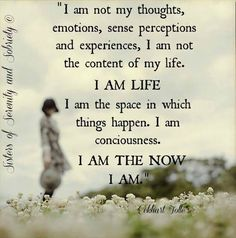 """""""I am not my thoughts, emotions, sense perceptions, I am not the content of my life.  I am life.  I am the space in which things happen.  I am consciousness.  I am the now.  I am."""" ~ Eckhart Tolle"""