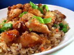I have been playing with this recipe for ages. I think this comes pretty close to the orange chicken that I enjoy at my favorite chinese restaurant. Served over steamed rice or fried rice makes it a one-dish meal. I sprinkle chopped green onions on mine. Yum.