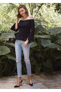 Miranda Kerr wearing Miranda + Mother Denim Easy Does It Thanks For Everything, Paul Andrew Jewel Embellished Satin Slingback Pumps and Roland Mouret Cartwright Off-the-Shoulder Ribbed-Knit Top