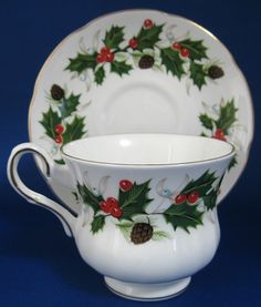 Cup And Saucer Christmas Royal Grafton White with Holly Pattern