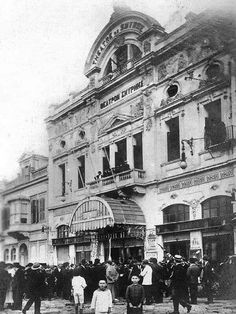 This is the greek theatre at Smyrna before 1922  there is the title in greek  '' ΘΕΑΤΡΟΝ ΣΜΥΡΝΗΣ''