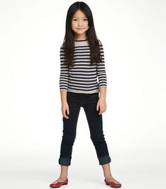 I want this little girl's look but in adult size...Nautical stripes w/ red tory burch flats.