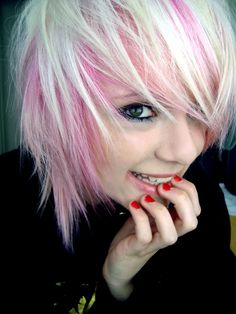 Short hair style, cute pink and blonde.
