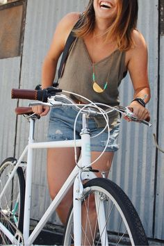 Our Simply White Astor bicycle with light turquoise detailing.