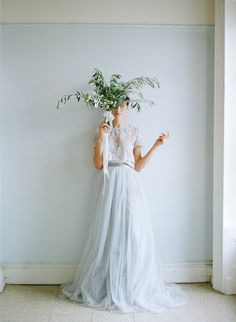 #weddingdresses #colored dresses A pale blue-grey on the bottom, pairs nicely with the lace top. #alexandragrecco