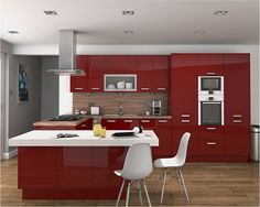 An Altino Red High Gloss Kitchen Design Idea - http://www.diy-kitchens.com/kitchens/altino-red/details/
