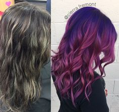 It's #fridaythe13th how bout some freaky good unicorn hair. 🦄 6hrs of color correction and a whole lot of #colorelixir a unicorn was born! 🦄❤😻 #hairbycierrafremont #epiceuforacolor #eyforacolor #euforaartisan @euforainternational #euforainternational #hotonbeauty #modernsalon #beforeandafter #pinkhair #purplehair #colormelt #licensedtocreate