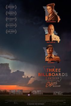 """Three billboards outside Ebbing, Missouri (Academy Award for """"Best Actress"""": Frances McDormand, Academy Award for """"Best Supporting Actor"""": Sam Rockwell) - Crime-black comedy film, 2017"""