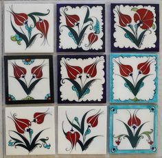 Çini Vazo&Tabak | İlgi Sanat Evi Turkish Art, Turkish Tiles, Tile Art, Mosaic Art, Arabesque, Islamic Tiles, China Painting, Painting Flowers, Ceramic Design