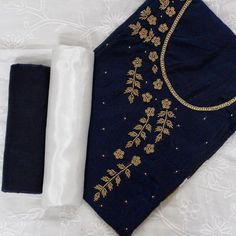 Buy Opulent Navy Blue-White Colored Designer Chanderi Silk Dress Material at Get latest Partywear suit for women's at Peachmode. Chudidhar Neck Designs, Salwar Neck Designs, Churidar Designs, Kurta Neck Design, Fancy Blouse Designs, Dress Neck Designs, Embroidery On Kurtis, Hand Embroidery Dress, Kurti Embroidery Design