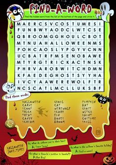Halloween Word Search Puzzle and Halloween Song for Kids!