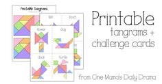 Download these printable tangrams and challenge cards for a fun handmade gift idea. Kids of all ages love these puzzles. Perfect for Christmas or anytime.
