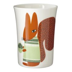 Drink your morning cuppa with this bushy-tailed Squirrel beaker. Handmade and printed in Stoke-on-Trent, England. 100% Bone China.