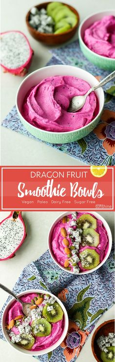 Dragon Fruit Smoothie Bowls / These smoothie bowls are actually like soft serve ice cream- creamy, fruity, and super healthy! #dragonfruit #pitaya #smoothiebowls #smoothie #nicecream #banana #mango