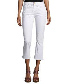 The Kick Slim-Fit Cropped Jeans, Sugar W/Raw Hem, Size: 30 - Current/Elliott