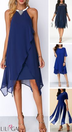 mode Deciding what to wear can be made easier by choosing a dress. These chic navy blue dresses come Elegant Dresses, Sexy Dresses, Blue Dresses, Beautiful Dresses, Casual Dresses, Fashion Dresses, Summer Dresses, Formal Dresses, Summer Outfits