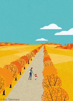 イラストレーター武政 諒のブログです。Blog of illustrator Ryo Takemasa. Nature Illustration, Landscape Illustration, Graphic Design Illustration, Landscape Art, Japanese Illustration, Wallpaper Paisajes, Studio Ghibli, Graphic Wallpaper, Leaf Art