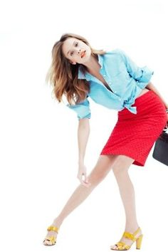 odd pose, but i love the outfit! Red Skirts, J Crew, Ballet Skirt, Spring Summer, Poses, My Style, People, How To Wear, Outfits