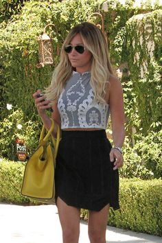 Ashley Tisdale in For Love & Lemons Anna Crop Top