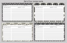 Damask Printable Recipe Cards  four designs by smilesandsquiggles, $3.00