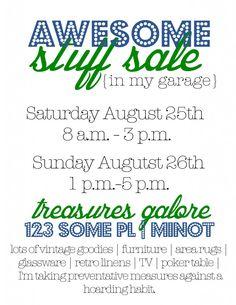 Printable garage sale flyers