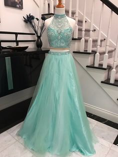 Fabric: Tulle Color: Mint Green Silhouettes: A Line Neckline: V Neck Length: Floor Length Skirt: A Line Skirt Trends: new arrival Embellishment: Beading Collection: Prom Dresses, Homecoming Dress $177