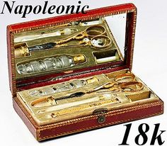 Antique Napoleon Era French 18k Gold Sewing Set, Etui, Tools - Embroidery set with marks for 1798-1809  Photo credit: Antiques & Uncommon Treasure